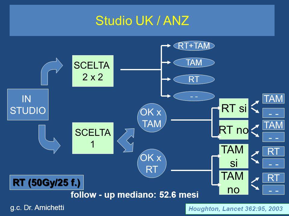 Studio UK / ANZ follow - up mediano: 52.6 mesi Houghton, Lancet 362:95, 2003 IN STUDIO SCELTA 1 SCELTA 2 x 2 RT+TAM TAM RT - OK x TAM OK x RT RT si RT no TAM no TAM si TAM - RT - RT TAM - RT (50Gy/25 f.) g.c.
