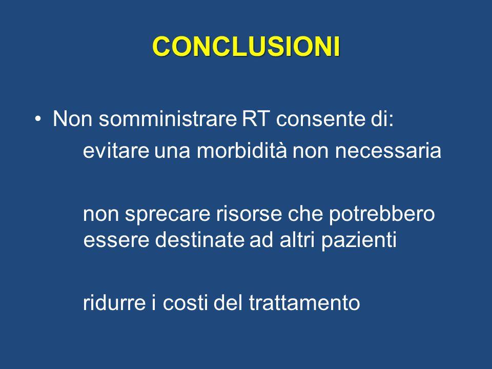 Non somministrare RT consente di: evitare una morbidità non necessaria non sprecare risorse che potrebbero essere destinate ad altri pazienti ridurre i costi del trattamento CONCLUSIONI