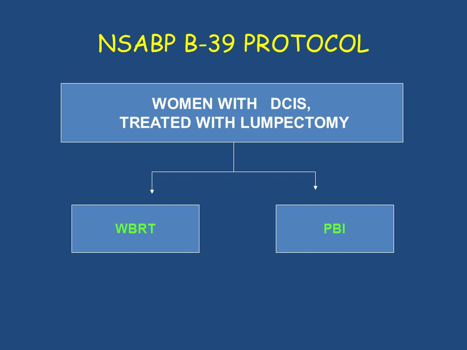 NSABP B-39 PROTOCOL WOMEN WITH DCIS, TREATED WITH LUMPECTOMY WBRTPBI