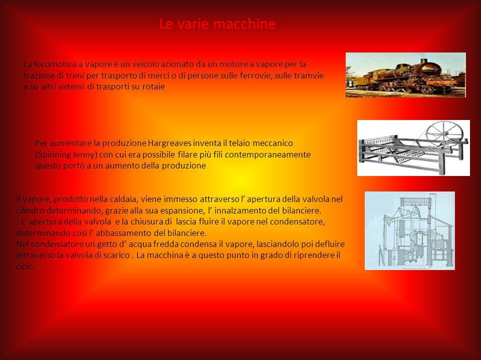 Le varie macchine La locomotiva a vapore è un veicolo azionato da un motore a vapore per la trazione di treni per trasporto di merci o di persone sull