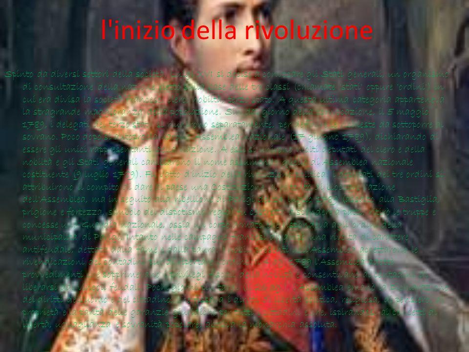 l'inizio della rivoluzione Spinto da diversi settori della società, Luigi XVI si decise a convocare gli Stati generali, un organismo di consultazione