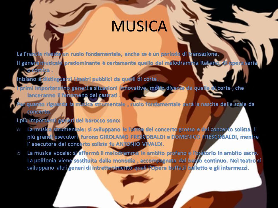 MUSICA La Francia riveste un ruolo fondamentale, anche se è un periodo di transazione. Il genere musicale predominante è certamente quello del melodra