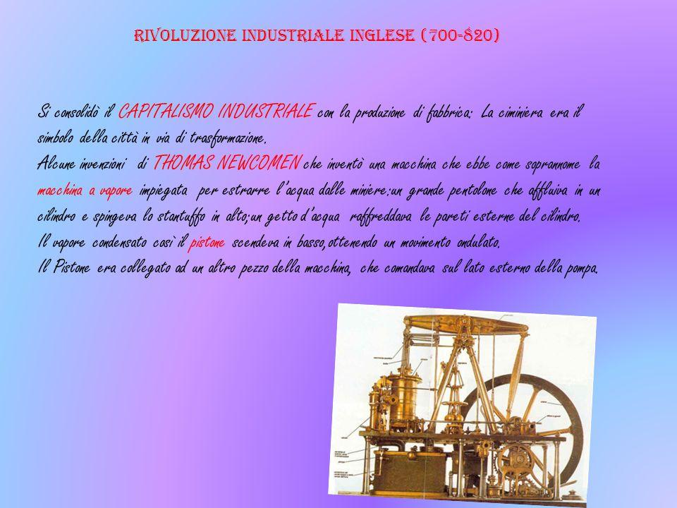 Rivoluzione industriale inglese (700-820) Si consolidò il CAPITALISMO INDUSTRIALE con la produzione di fabbrica: La ciminiera era il simbolo della cit