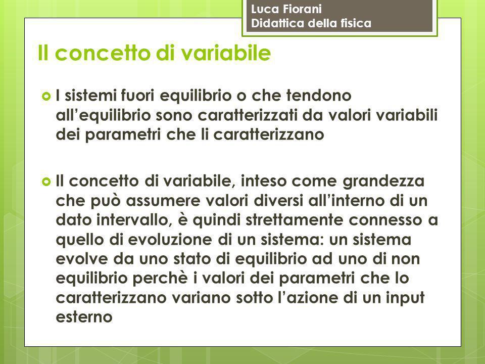 Luca Fiorani Didattica della fisica Il concetto di variabile  I sistemi fuori equilibrio o che tendono all'equilibrio sono caratterizzati da valori v