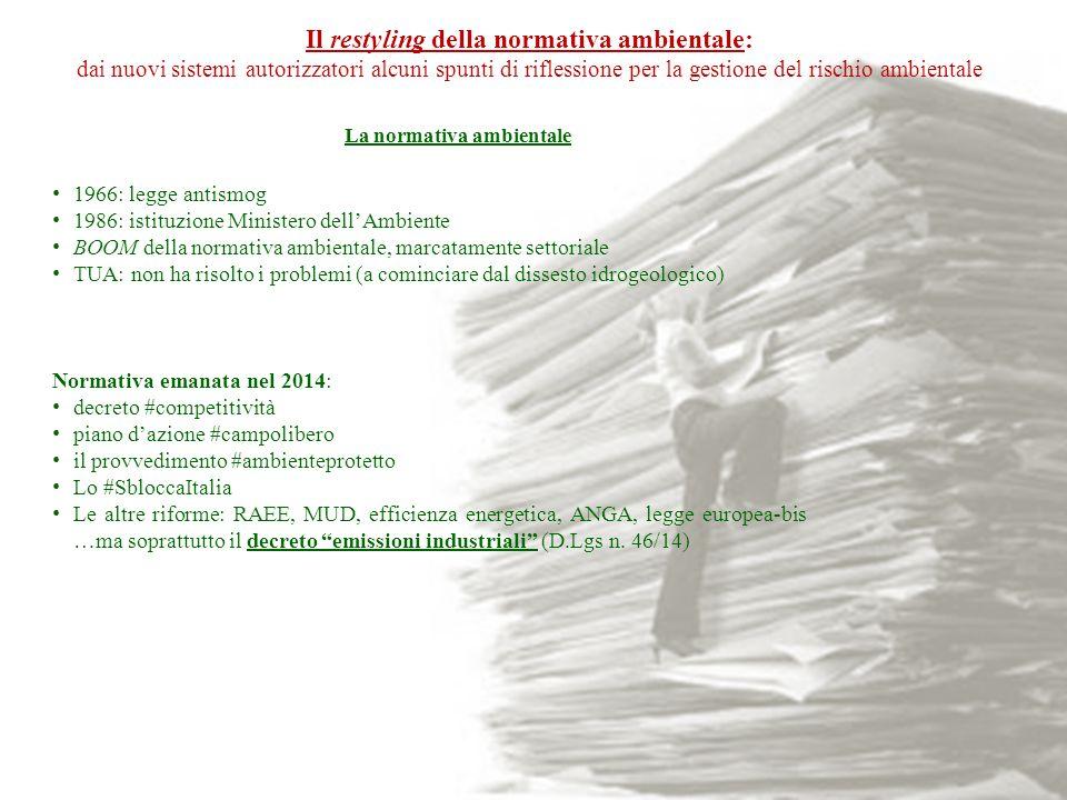 1966: legge antismog 1986: istituzione Ministero dell'Ambiente BOOM della normativa ambientale, marcatamente settoriale TUA: non ha risolto i problemi