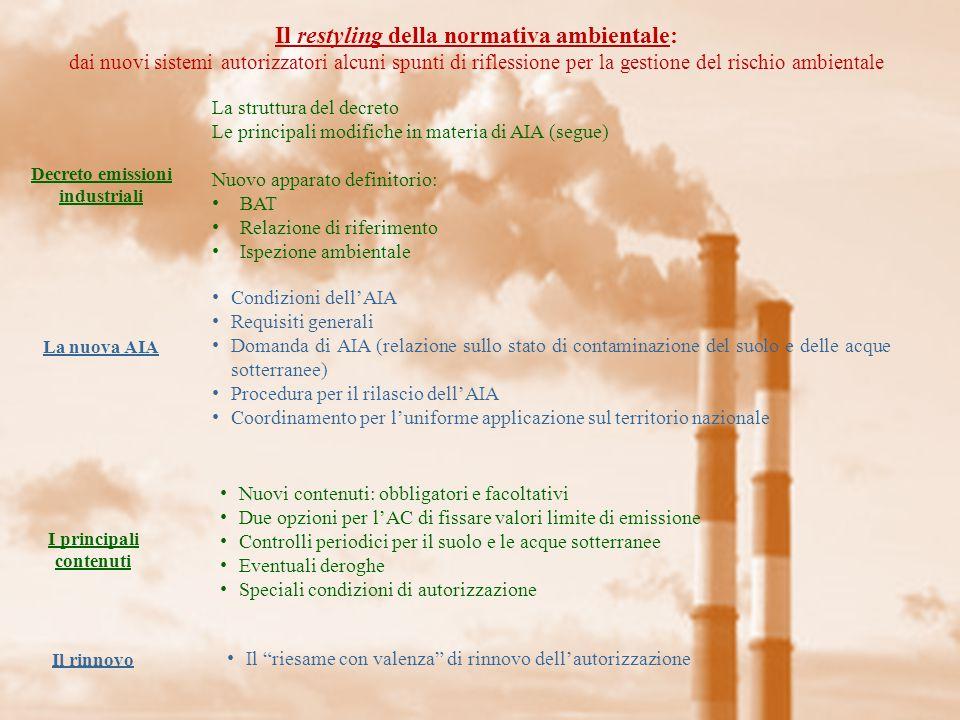 Il restyling della normativa ambientale: dai nuovi sistemi autorizzatori alcuni spunti di riflessione per la gestione del rischio ambientale Il coordinamento VIA-AIA Il decreto emissioni industriali ha effettivamente integrato le due procedure.