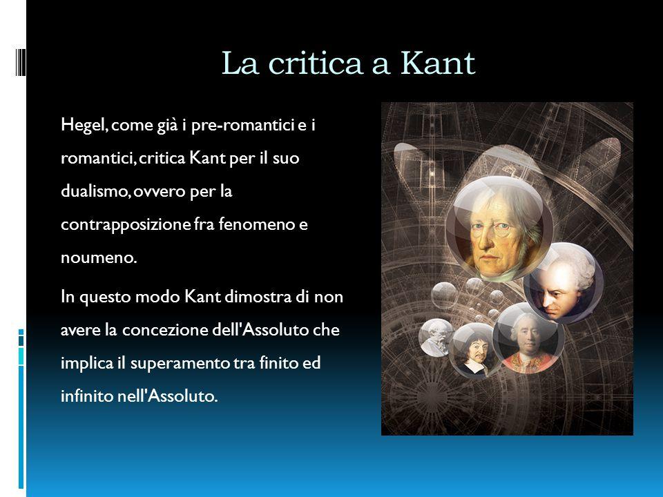 La critica a Kant Hegel, come già i pre-romantici e i romantici, critica Kant per il suo dualismo, ovvero per la contrapposizione fra fenomeno e noumeno.
