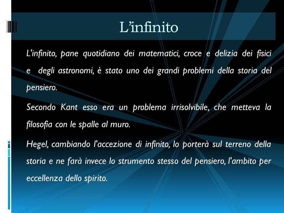 L infinito, pane quotidiano dei matematici, croce e delizia dei fisici e degli astronomi, è stato uno dei grandi problemi della storia del pensiero.