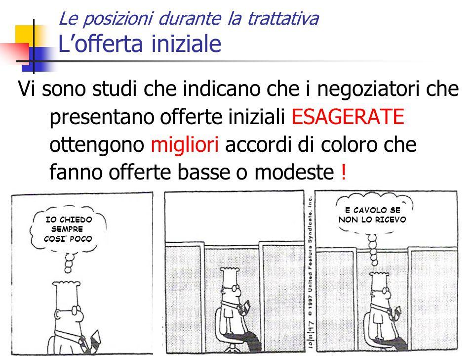 26 Le posizioni durante la trattativa L'offerta iniziale Vi sono studi che indicano che i negoziatori che presentano offerte iniziali ESAGERATE otteng