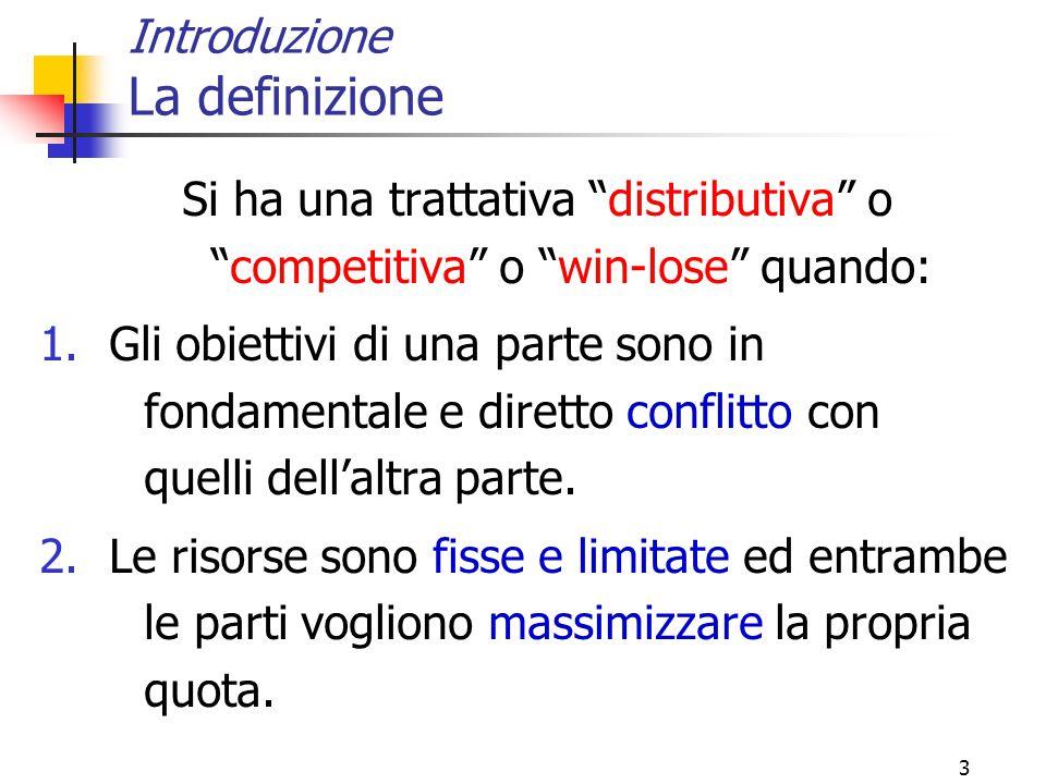 """3 Introduzione La definizione Si ha una trattativa """"distributiva"""" o """"competitiva"""" o """"win-lose"""" quando: 1.Gli obiettivi di una parte sono in fondamenta"""