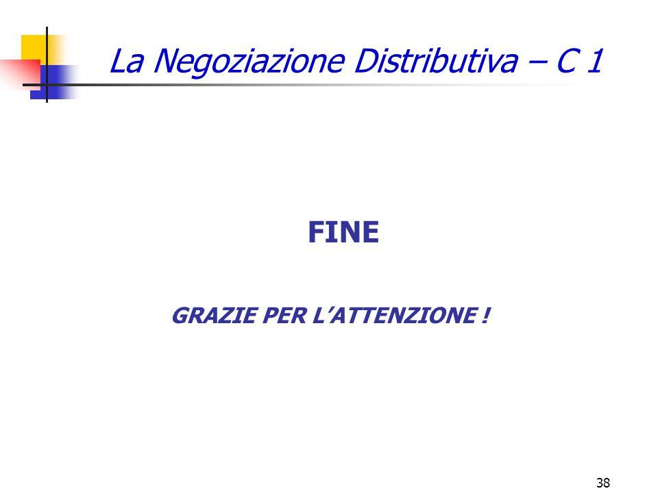 38 GRAZIE PER L'ATTENZIONE ! FINE La Negoziazione Distributiva – C 1