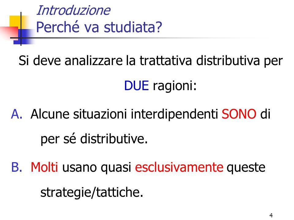 4 Introduzione Perché va studiata? Si deve analizzare la trattativa distributiva per DUE ragioni: A.Alcune situazioni interdipendenti SONO di per sé d
