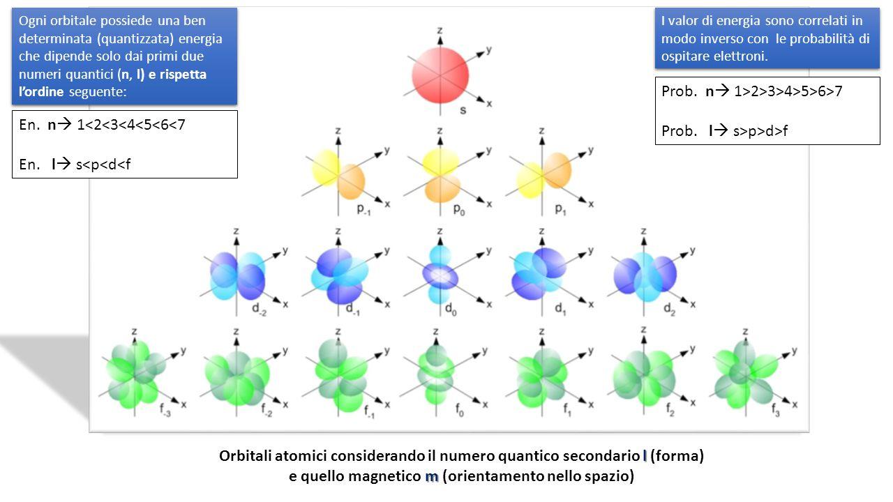 l m Orbitali atomici considerando il numero quantico secondario l (forma) e quello magnetico m (orientamento nello spazio) Ogni orbitale possiede una ben determinata (quantizzata) energia che dipende solo dai primi due numeri quantici (n, l) e rispetta l'ordine seguente: En.