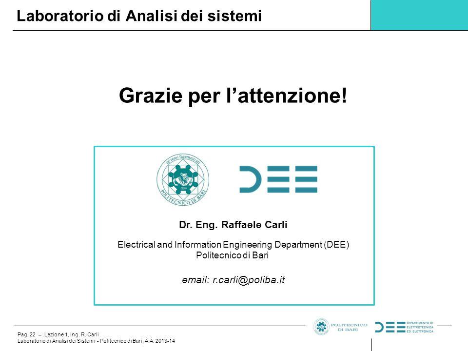Pag. 22 – Lezione 1, Ing. R. Carli Laboratorio di Analisi dei Sistemi - Politecnico di Bari, A.A. 2013-14 Grazie per l'attenzione! Laboratorio di Anal