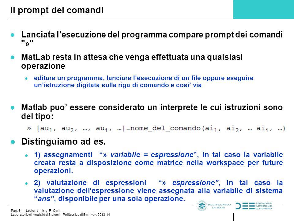 Pag. 8 – Lezione 1, Ing. R. Carli Laboratorio di Analisi dei Sistemi - Politecnico di Bari, A.A. 2013-14 Lanciata l'esecuzione del programma compare p