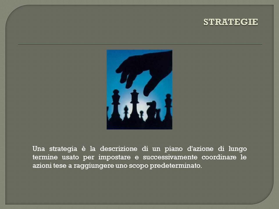 Una strategia è la descrizione di un piano d'azione di lungo termine usato per impostare e successivamente coordinare le azioni tese a raggiungere uno