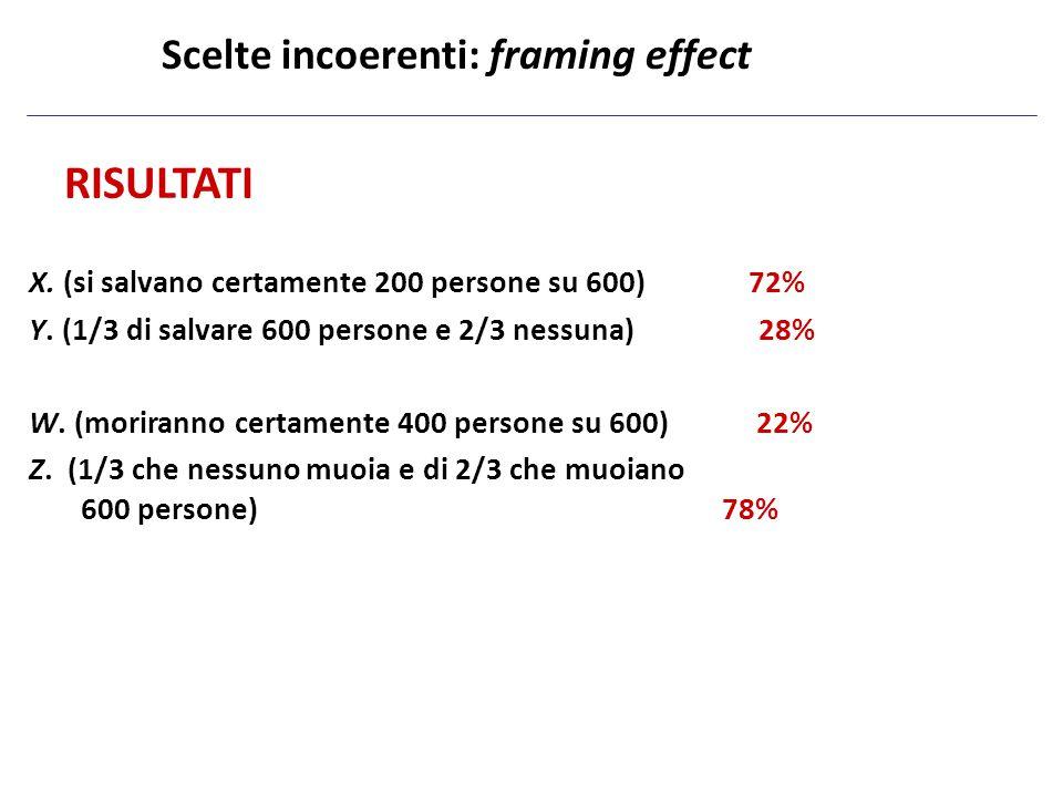 RISULTATI X. (si salvano certamente 200 persone su 600) 72% Y. (1/3 di salvare 600 persone e 2/3 nessuna) 28% W. (moriranno certamente 400 persone su
