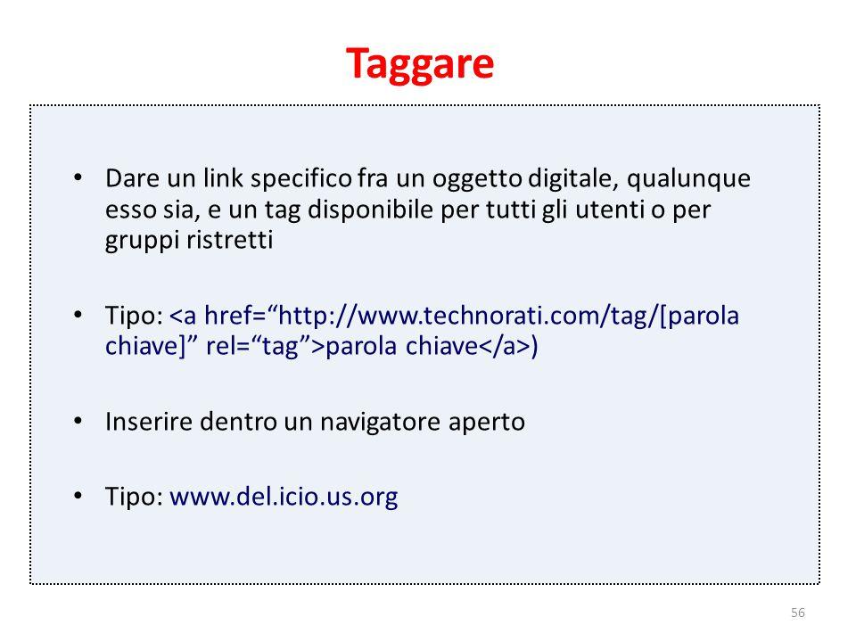 56 Taggare Dare un link specifico fra un oggetto digitale, qualunque esso sia, e un tag disponibile per tutti gli utenti o per gruppi ristretti Tipo: