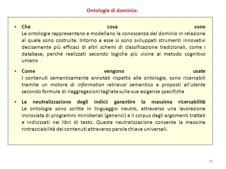 58 Ontologie di dominio:  Che cosa sono Le ontologie rappresentano e modellano la conoscenza del dominio in relazione al quale sono costruite. Intorn