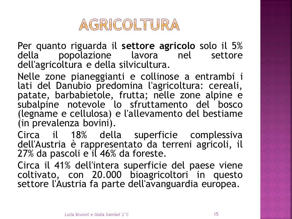 Per quanto riguarda il settore agricolo solo il 5% della popolazione lavora nel settore dell'agricoltura e della silvicultura. Nelle zone pianeggianti