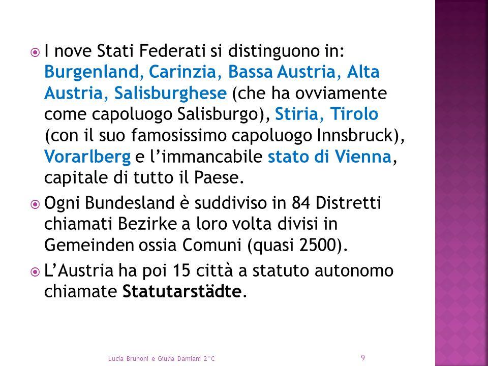  I nove Stati Federati si distinguono in: Burgenland, Carinzia, Bassa Austria, Alta Austria, Salisburghese (che ha ovviamente come capoluogo Salisbur