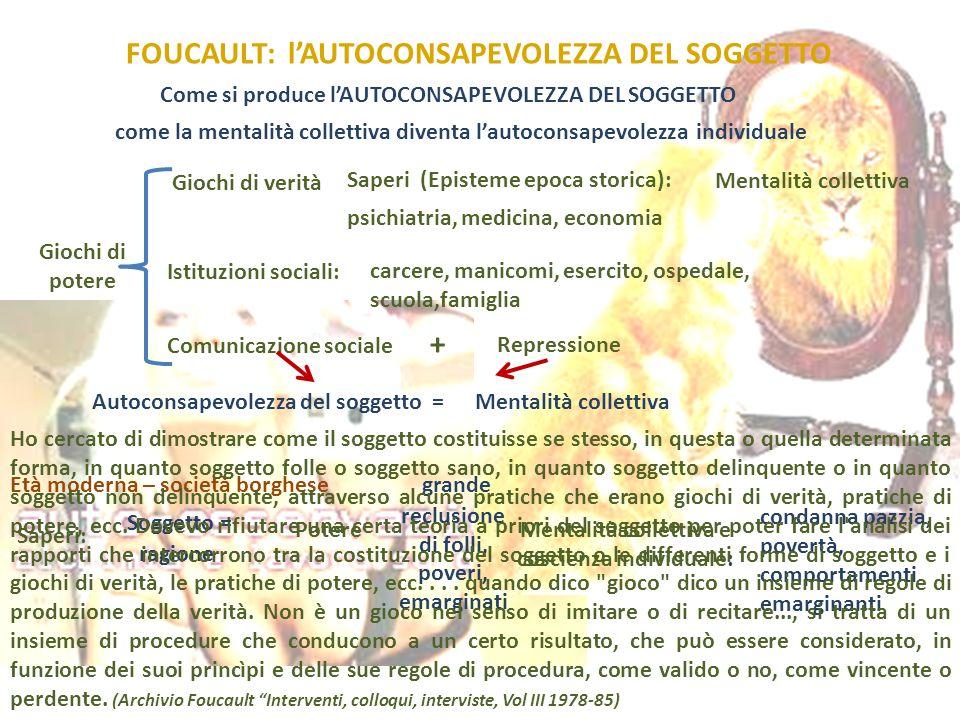 FOUCAULT: l'AUTOCONSAPEVOLEZZA DEL SOGGETTO Come si produce l'AUTOCONSAPEVOLEZZA DEL SOGGETTO come la mentalità collettiva diventa l'autoconsapevolezz