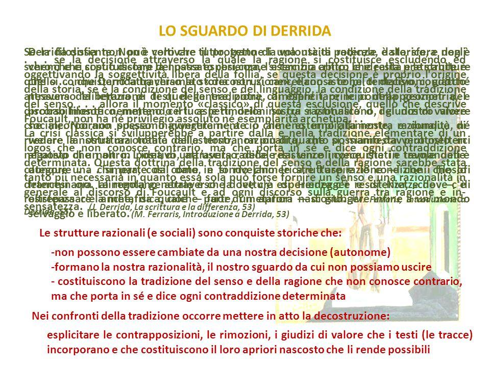 LO SGUARDO DI DERRIDA Derrida dissente. Non è vero che tutto, tranne la volontà di potenza, è storico, e non è vero che ci si può disfare del passato