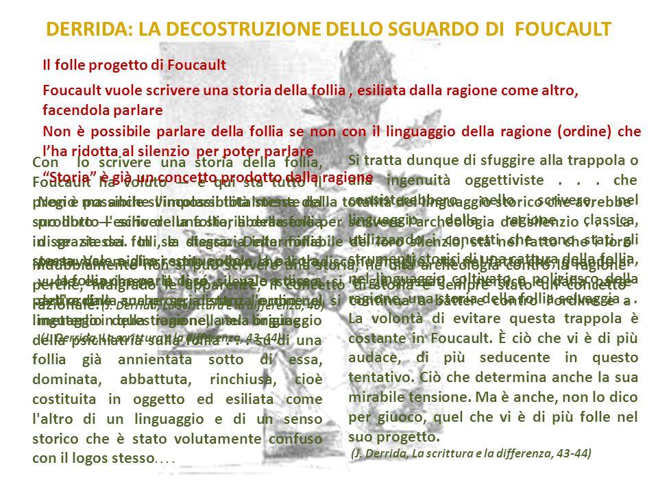 Foucault vuole scrivere una storia della follia, esiliata dalla ragione come altro, facendola parlare DERRIDA: LA DECOSTRUZIONE DELLO SGUARDO DI FOUCA