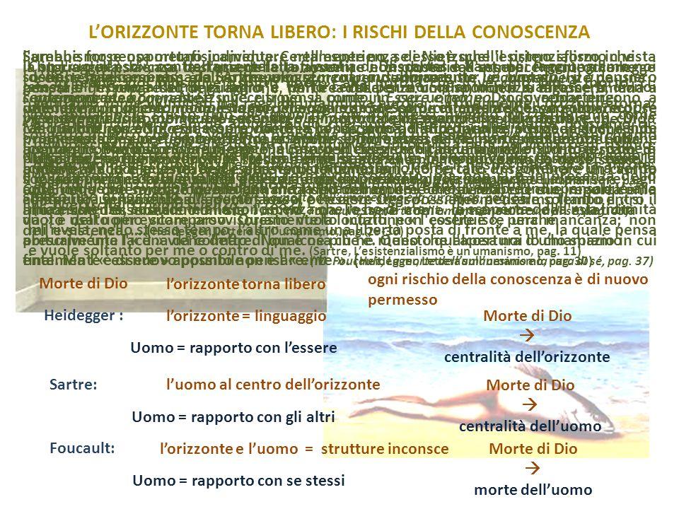 L'ORIZZONTE TORNA LIBERO: I RISCHI DELLA CONOSCENZA... In realtà, noi filosofi e «spiriti liberi», alla notizia che il vecchio Dio è morto, ci sentiam