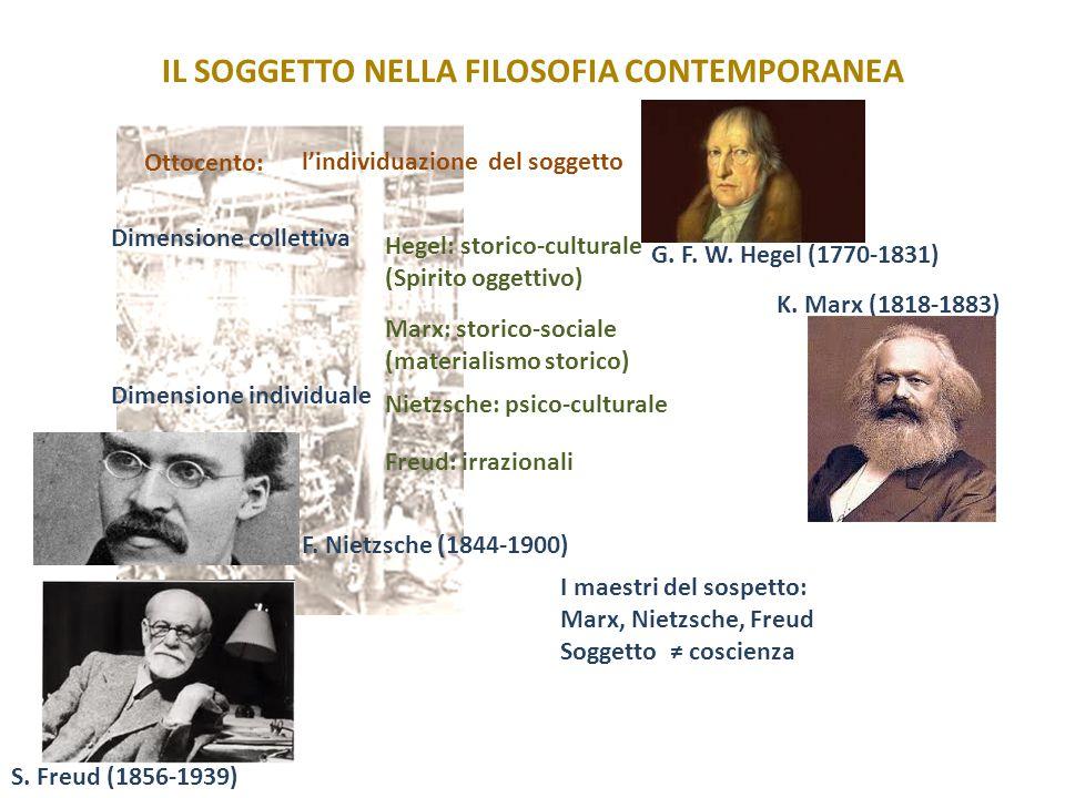 IL SOGGETTO NELLA FILOSOFIA CONTEMPORANEA Ottocento: Hegel: storico-culturale (Spirito oggettivo) Dimensione collettiva Marx: storico-sociale (materia