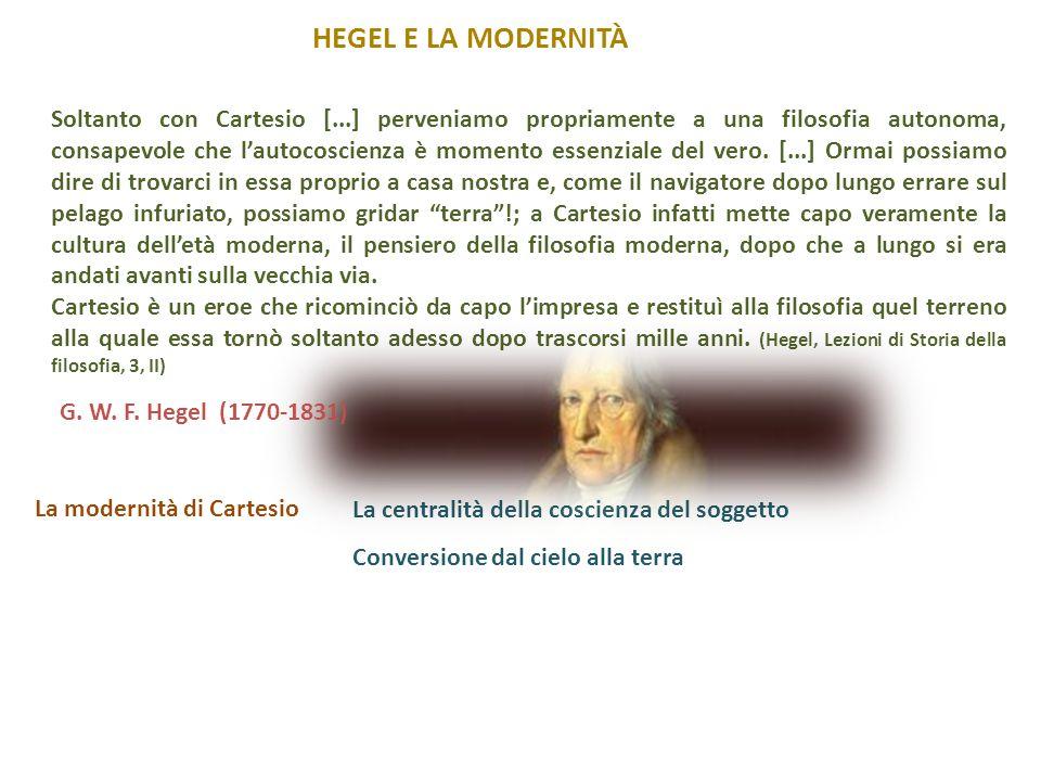 HEGEL E LA MODERNITÀ La modernità di Cartesio Conversione dal cielo alla terra Soltanto con Cartesio [...] perveniamo propriamente a una filosofia aut