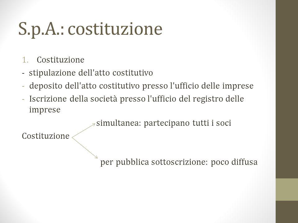 S.p.A.: costituzione 1.Costituzione - stipulazione dell'atto costitutivo -deposito dell'atto costitutivo presso l'ufficio delle imprese -Iscrizione de