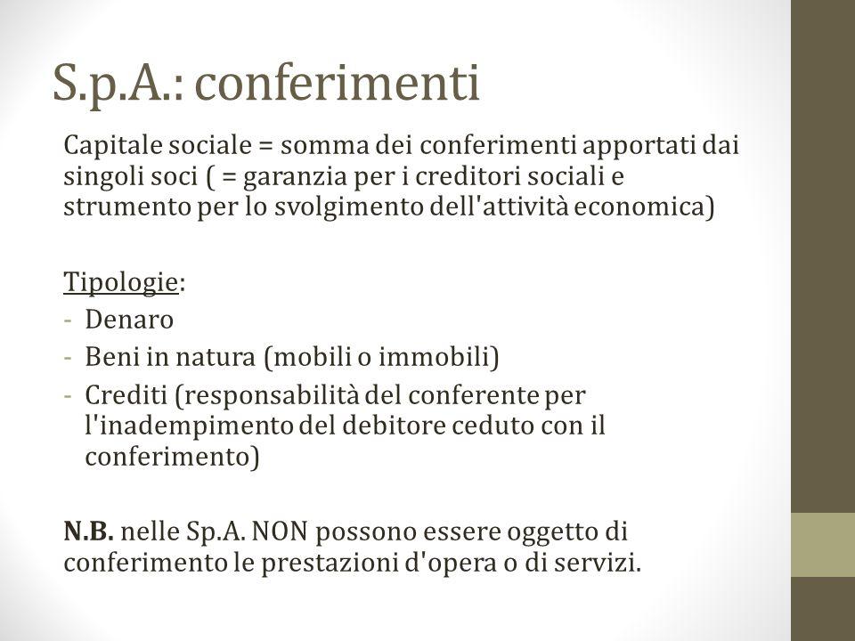 S.p.A.: conferimenti Capitale sociale = somma dei conferimenti apportati dai singoli soci ( = garanzia per i creditori sociali e strumento per lo svol