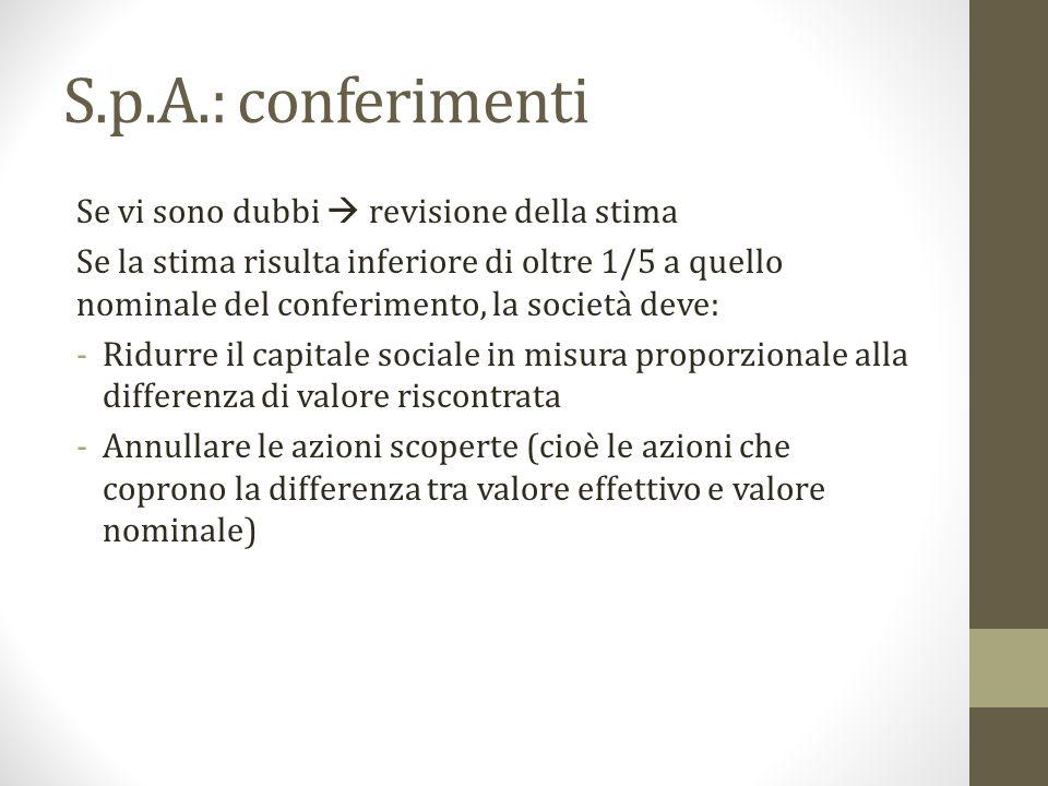 S.p.A.: conferimenti Se vi sono dubbi  revisione della stima Se la stima risulta inferiore di oltre 1/5 a quello nominale del conferimento, la societ