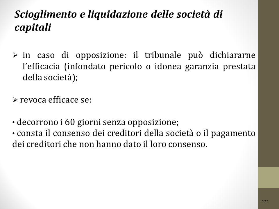 122 Scioglimento e liquidazione delle società di capitali  in caso di opposizione: il tribunale può dichiararne l'efficacia (infondato pericolo o ido