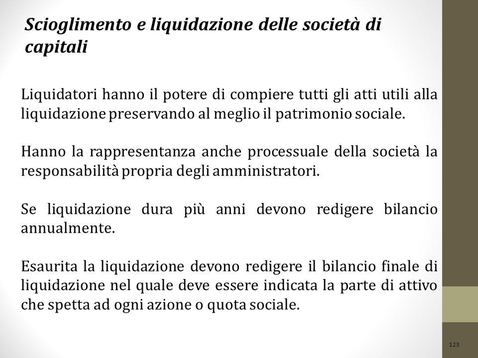 123 Scioglimento e liquidazione delle società di capitali Liquidatori hanno il potere di compiere tutti gli atti utili alla liquidazione preservando al meglio il patrimonio sociale.