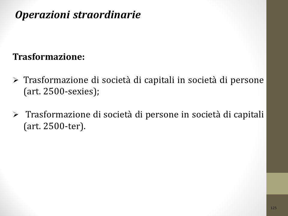 125 Operazioni straordinarie Trasformazione:  Trasformazione di società di capitali in società di persone (art. 2500-sexies);  Trasformazione di soc