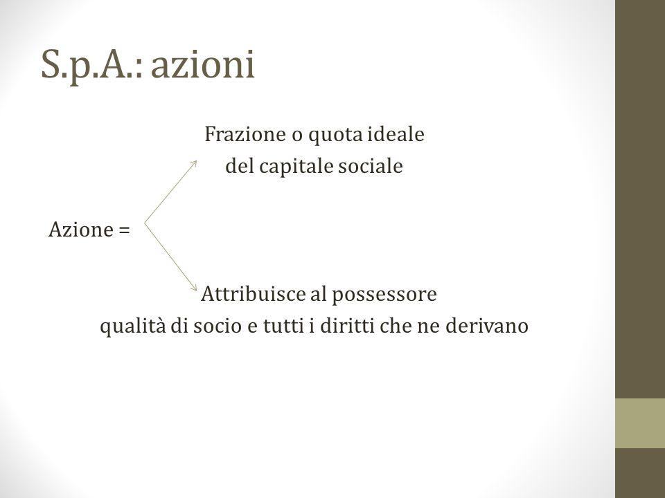 S.p.A.: azioni Frazione o quota ideale del capitale sociale Azione = Attribuisce al possessore qualità di socio e tutti i diritti che ne derivano