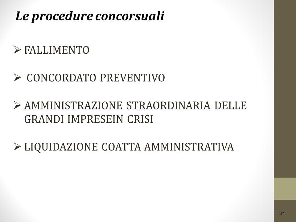 132 Le procedure concorsuali  FALLIMENTO  CONCORDATO PREVENTIVO  AMMINISTRAZIONE STRAORDINARIA DELLE GRANDI IMPRESEIN CRISI  LIQUIDAZIONE COATTA AMMINISTRATIVA IN C RISI LIQUIDAZIONE COATTA AMMINISTRATIVA