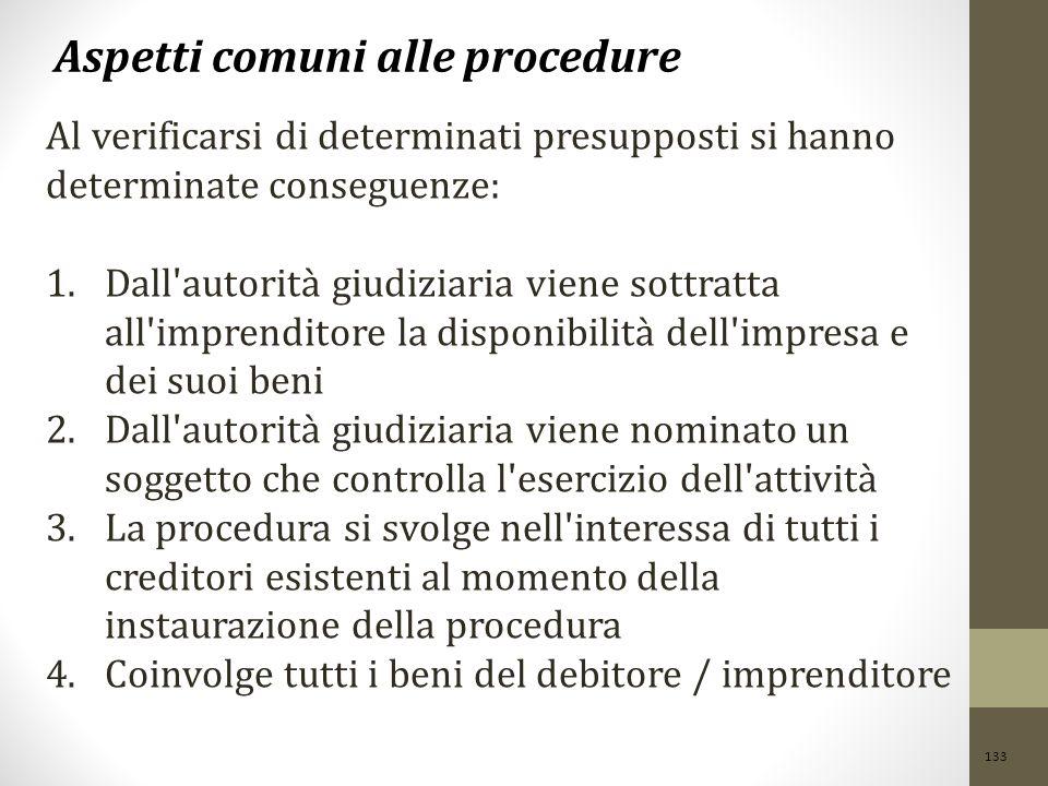133 Aspetti comuni alle procedure Al verificarsi di determinati presupposti si hanno determinate conseguenze: 1.Dall'autorità giudiziaria viene sottra