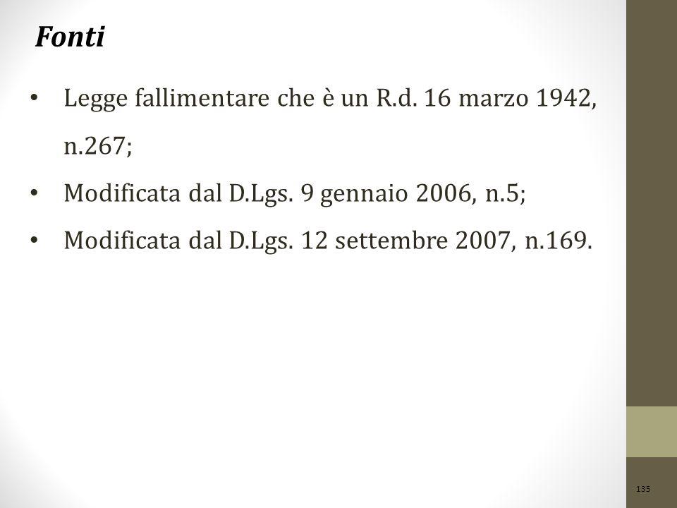 135 Fonti Legge fallimentare che è un R.d. 16 marzo 1942, n.267; Modificata dal D.Lgs. 9 gennaio 2006, n.5; Modificata dal D.Lgs. 12 settembre 2007, n