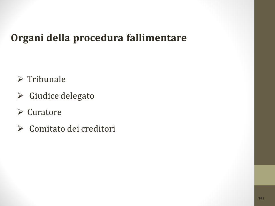 142 Organi della procedura fallimentare  Tribunale  Giudice delegato  Curatore  Comitato dei creditori