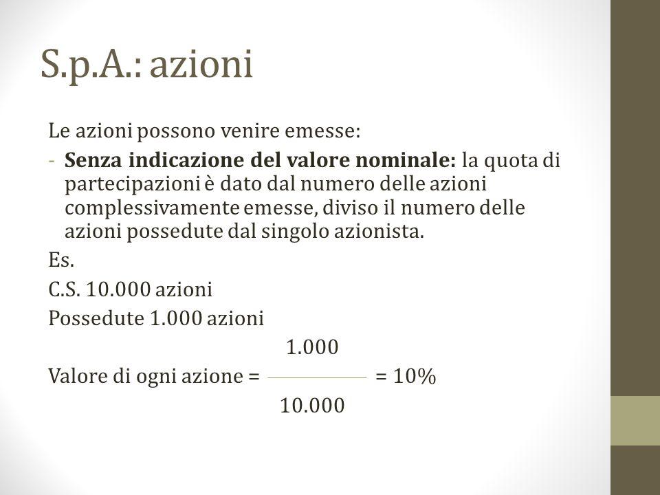 S.p.A.: azioni Le azioni possono venire emesse: -Senza indicazione del valore nominale: la quota di partecipazioni è dato dal numero delle azioni comp