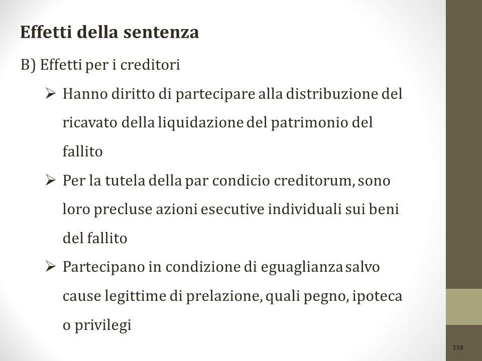158 Effetti della sentenza B) Effetti per i creditori  Hanno diritto di partecipare alla distribuzione del ricavato della liquidazione del patrimonio