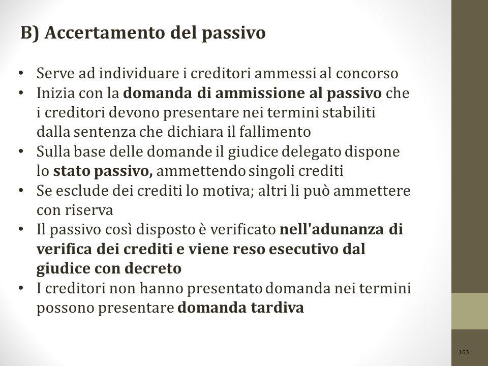 163 B) Accertamento del passivo Serve ad individuare i creditori ammessi al concorso Inizia con la domanda di ammissione al passivo che i creditori de