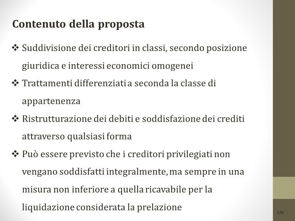 170 Contenuto della proposta  Suddivisione dei creditori in classi, secondo posizione giuridica e interessi economici omogenei  Trattamenti differen