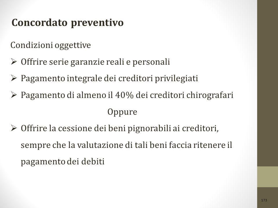 173 Concordato preventivo Condizioni oggettive  Offrire serie garanzie reali e personali  Pagamento integrale dei creditori privilegiati  Pagamento