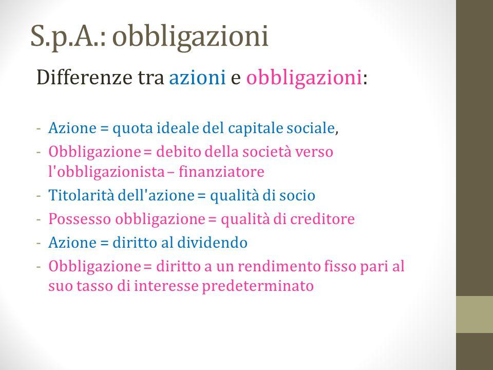 S.p.A.: obbligazioni Differenze tra azioni e obbligazioni: -Azione = quota ideale del capitale sociale, -Obbligazione = debito della società verso l'o