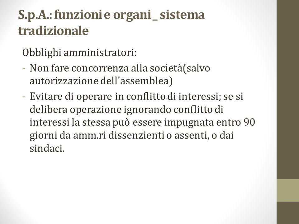 S.p.A.: funzioni e organi _ sistema tradizionale Obblighi amministratori: -Non fare concorrenza alla società(salvo autorizzazione dell'assemblea) -Evi