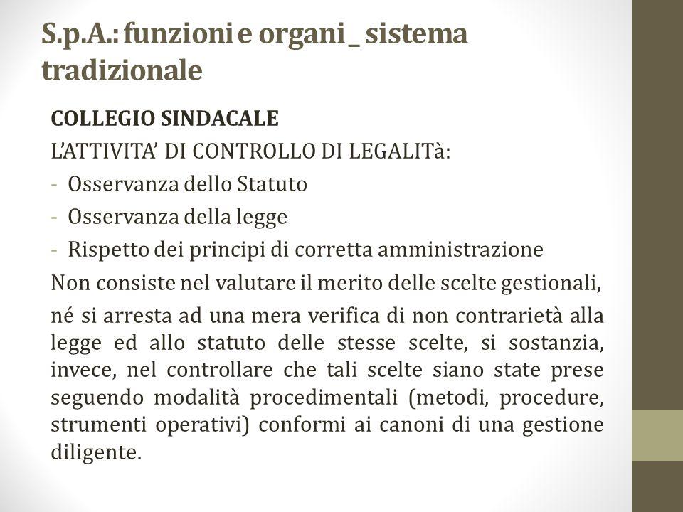 S.p.A.: funzioni e organi _ sistema tradizionale COLLEGIO SINDACALE L'ATTIVITA' DI CONTROLLO DI LEGALITà: -Osservanza dello Statuto -Osservanza della